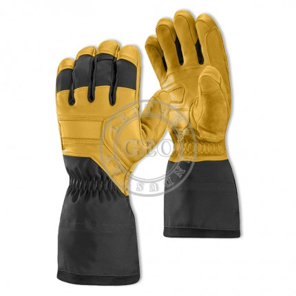Leather Fabric Mix Waterproof Windproof Snowboard Ski Gloves