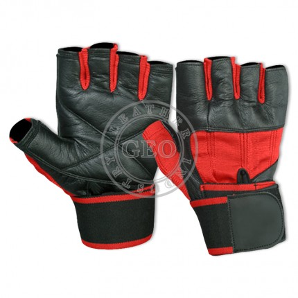 Gents Gym Boost Weight Lifting Leather Gloves